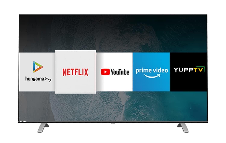 A Toshiba Vidaa OS Series 4K Ultra HD Smart LED TV in black.