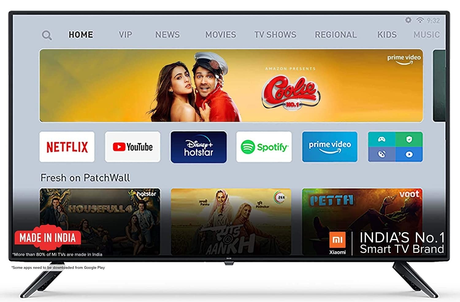 A Mi TV 4A Full HD Android LED TV in black.