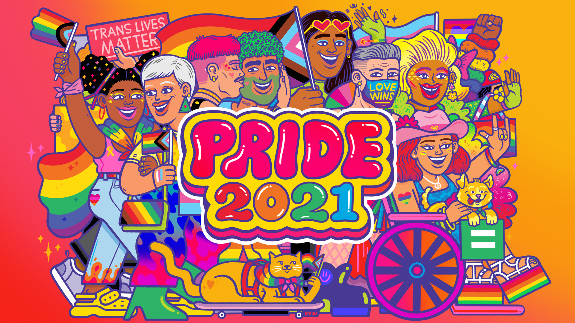 Pride 2021 graphic featuring people and pets dressed up in colorful outfits