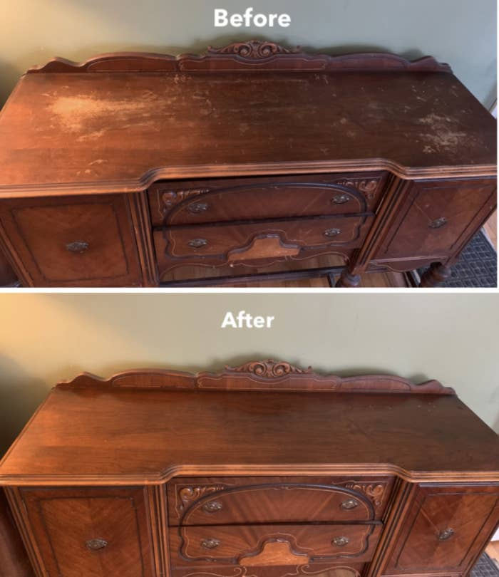 A reviewer's scuffed dresser before using the polish / A reviewer's dresser after using the product