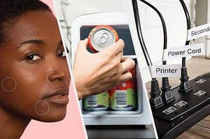 pimple patches on face, cans in a mini fridge, and labels on cords