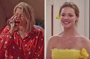 """On the left, Renee Zellweger in """"Bridget Jones's Diary,"""" and on the right, Katherine Heigl in  """"27 Dresses"""""""