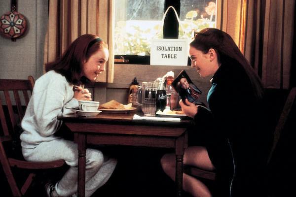 Lindsay Lohan talking with Lindsay Lohan.