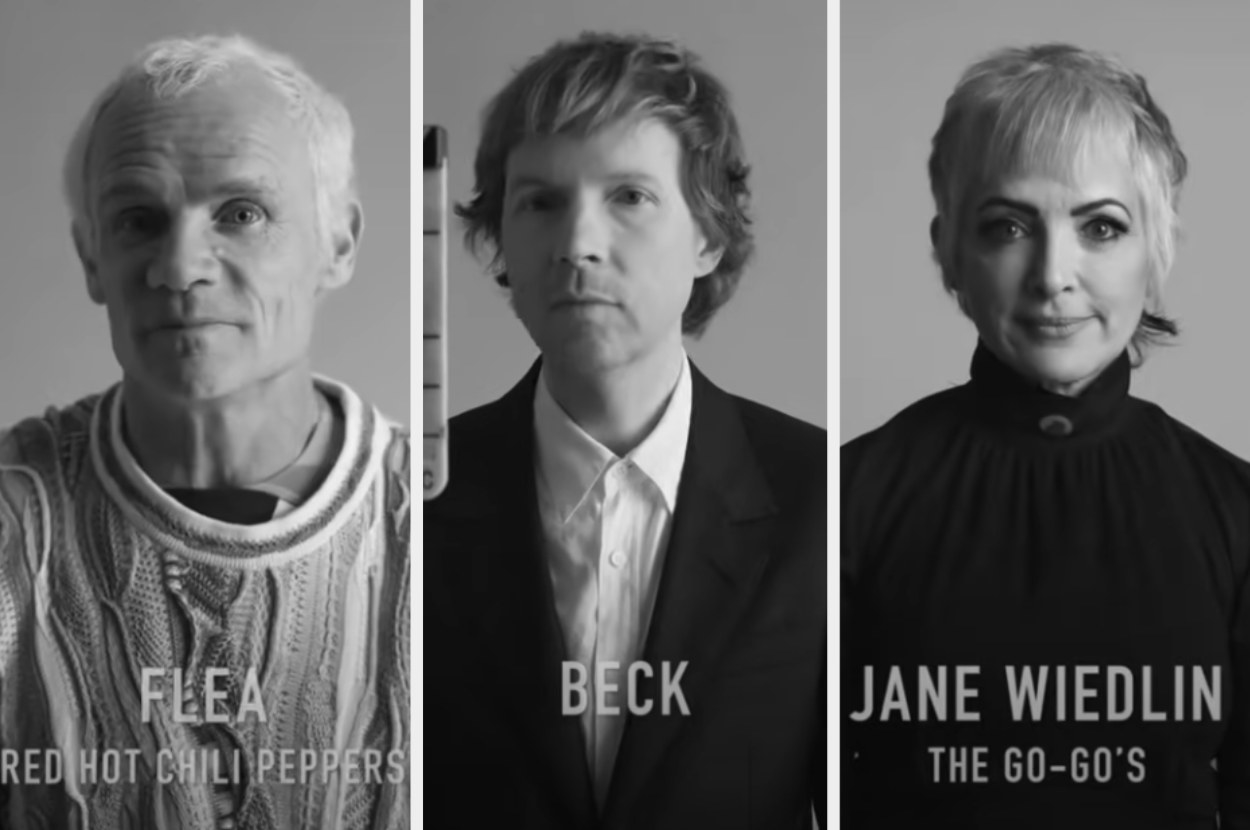 Musicians Flea, Beck, and Jane Wiedlin looking at the camera for the documentary