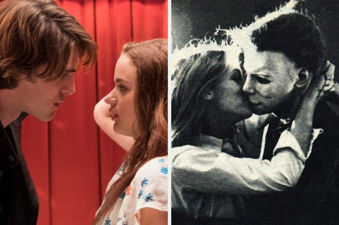 two couples, the one on the left staring deep into each other's eyes and the other couple being a final girl kissing michael meyers