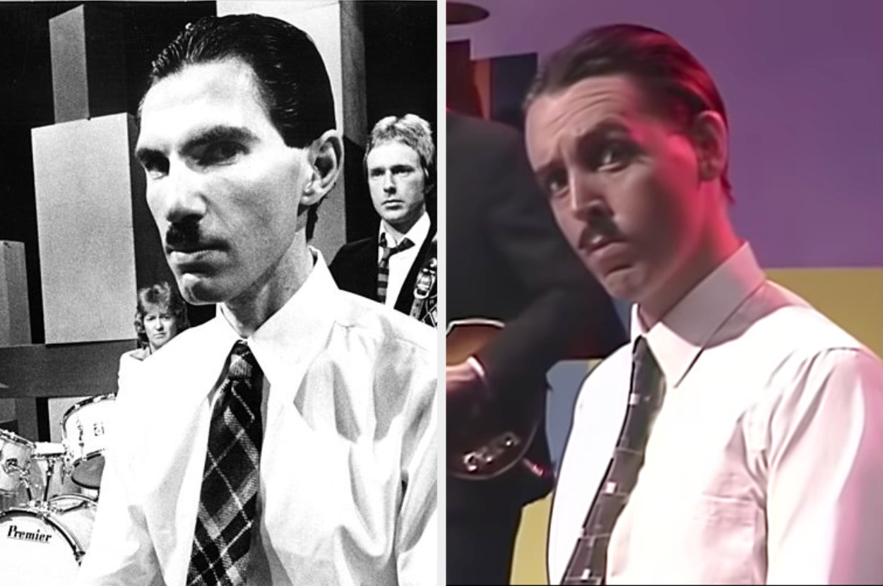 Ron Mael sporting his iconic Charlie Chaplin mustache, slicked-back hair, white button up shirt and tie, and Paul McCartney dressed exactly the same