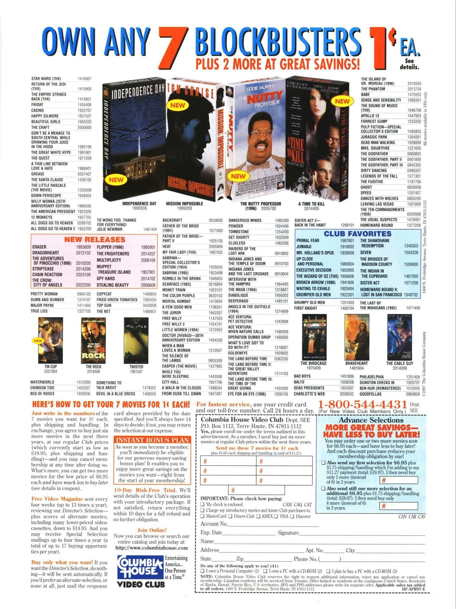 A Columbia House Video Club order form