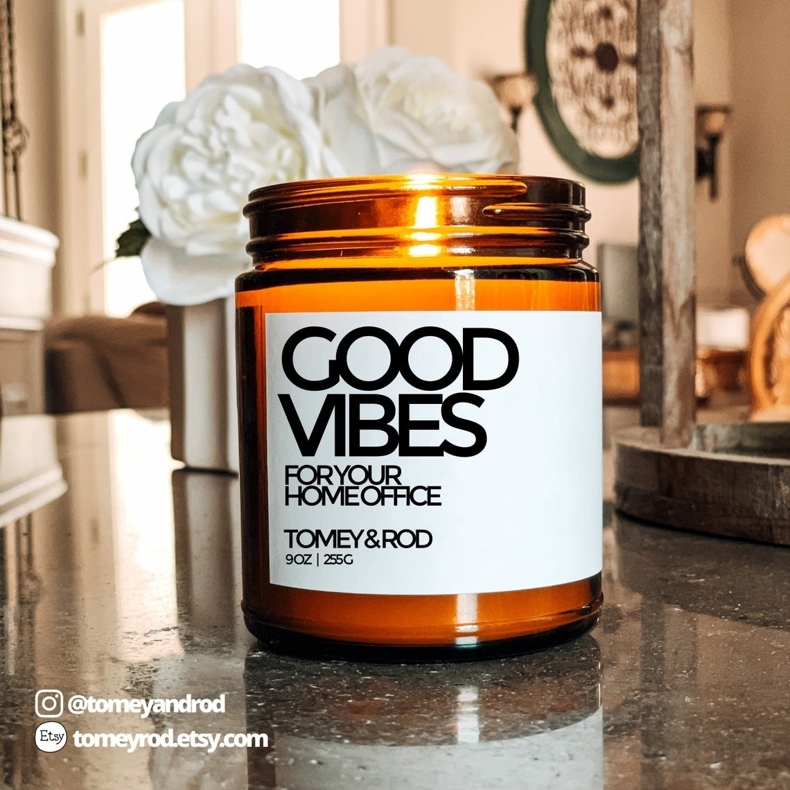 The Good Vibes for your Home Office candle