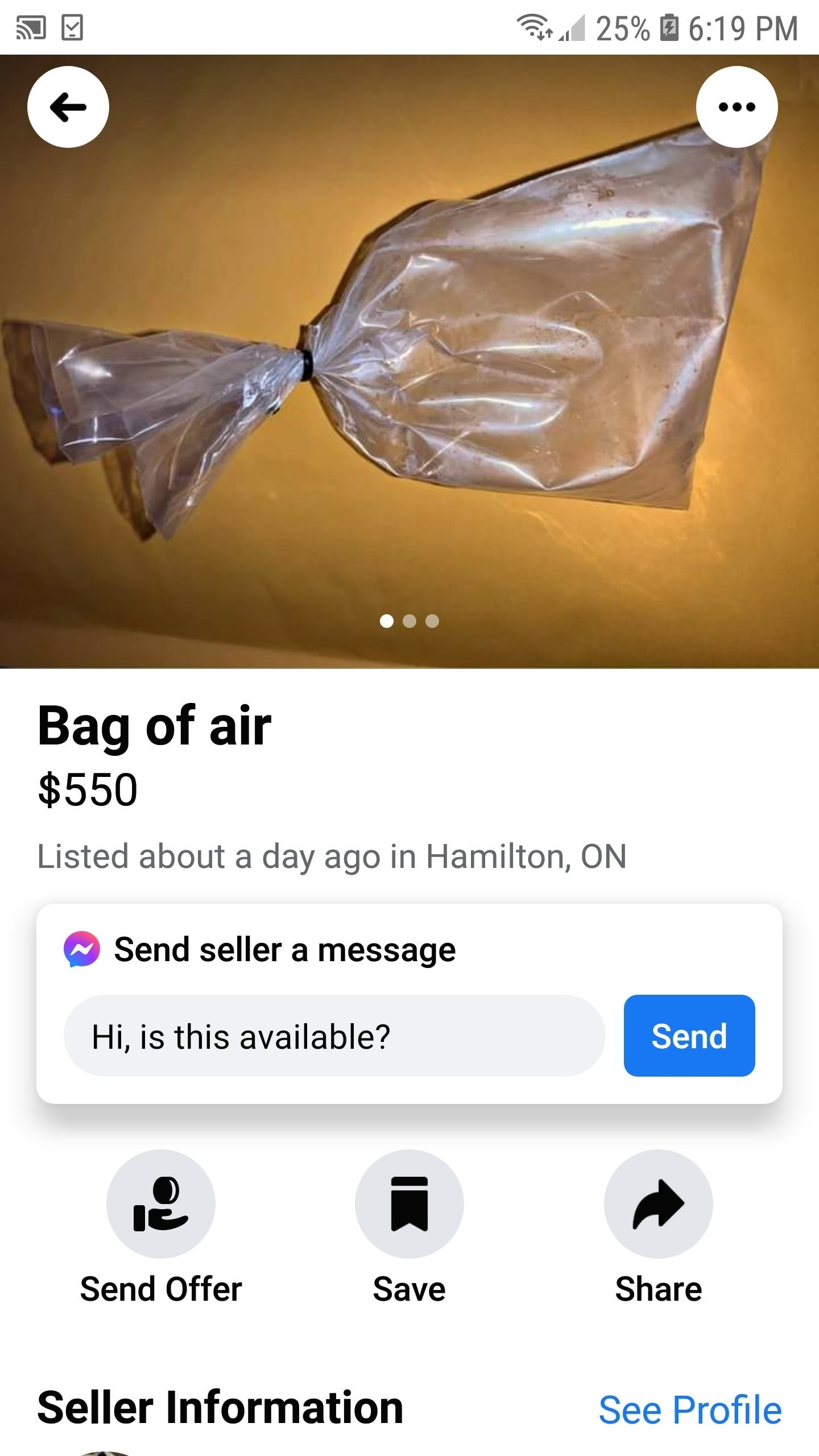 someone selling a bag of air for $550