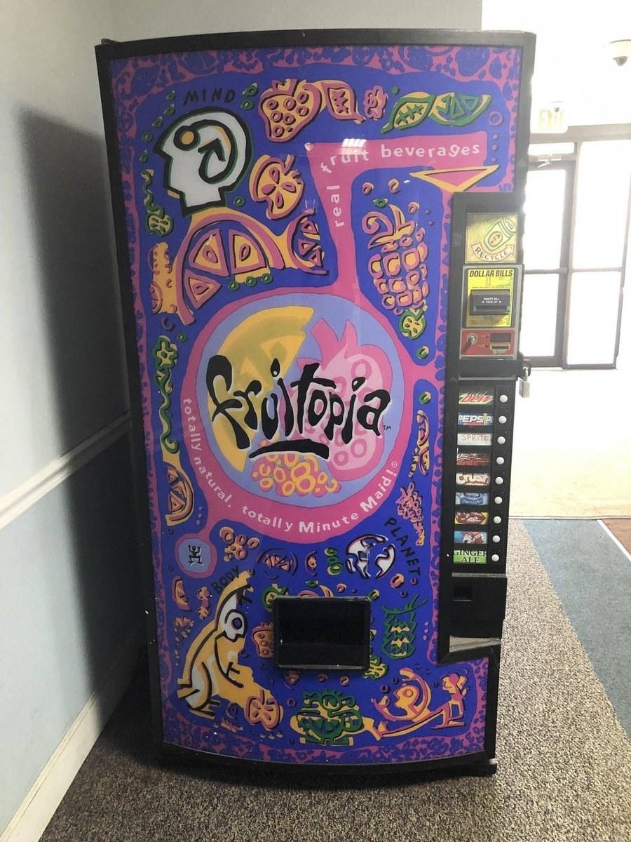 Fruitopia vending machine with purple psychedelic design