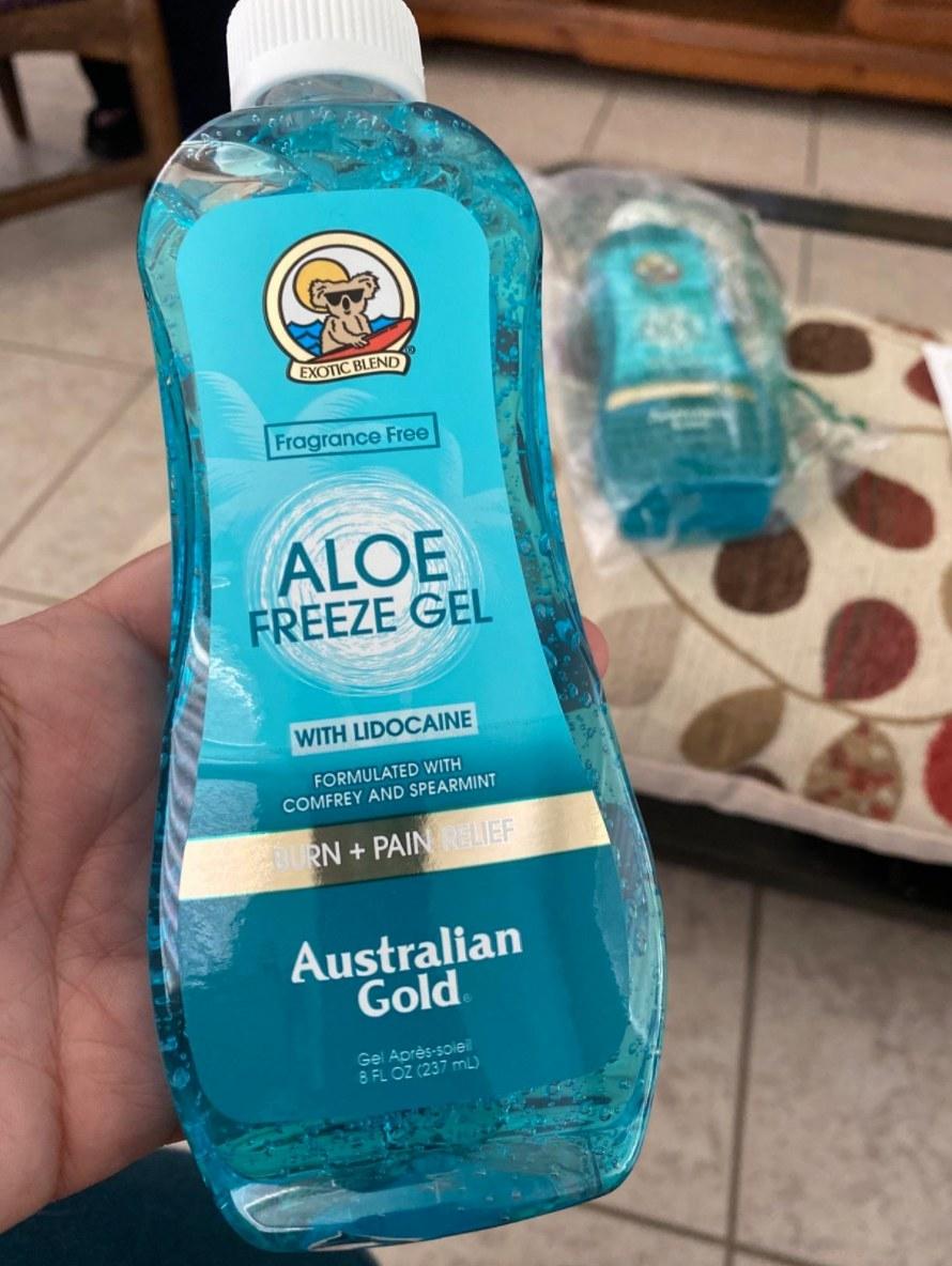 the bottle of aloe freeze gel