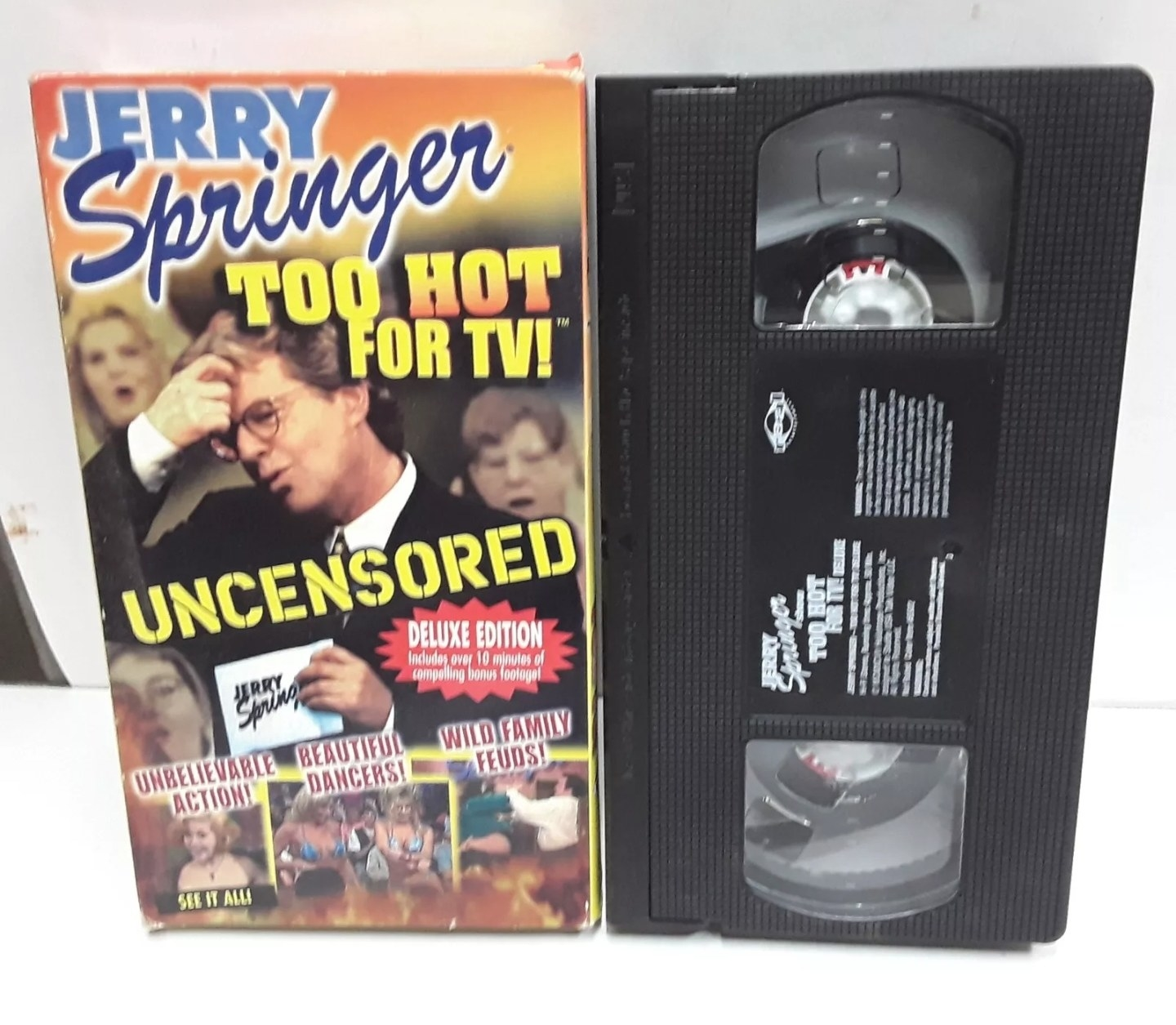 Photo of VHS tape with the Jerry Springer tape cover