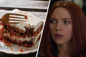 A slice of two layered carrot cake with cream cheese frosting sits on a plate with a fork sticking out of it and a close up shot of Natasha Romanoff as she looks off to the left.
