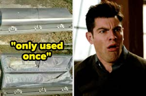 a casket labeled