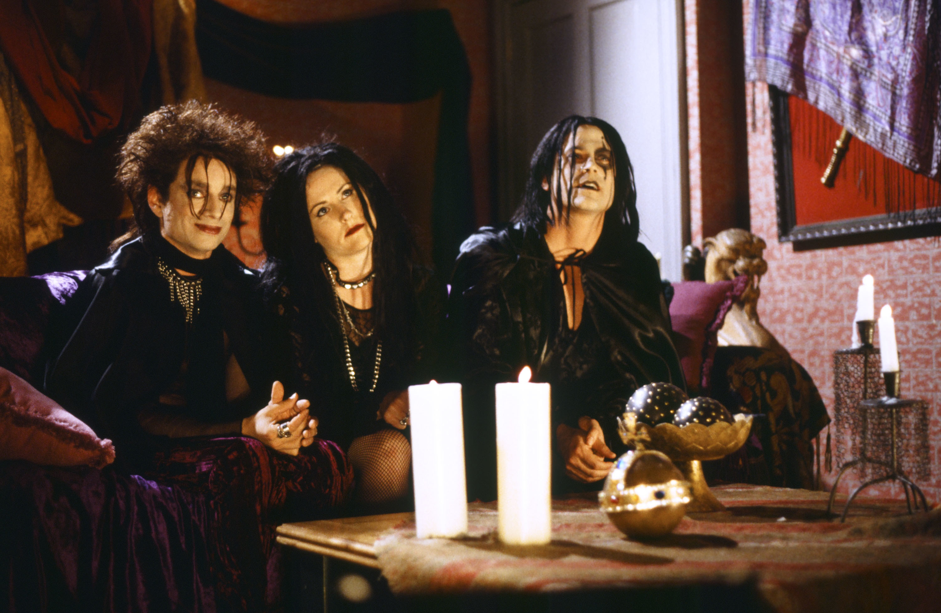 Chris Kattan as Azrael Abyss, Molly Shannon as Circe Nightshade, Rob Lowe as The Beholder during the 'Goth Talk' skit