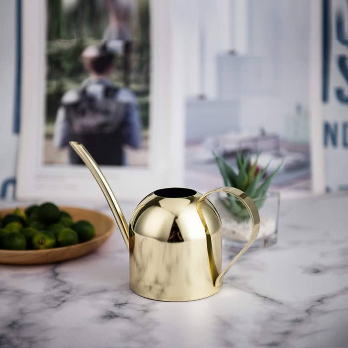 the watering can on a table
