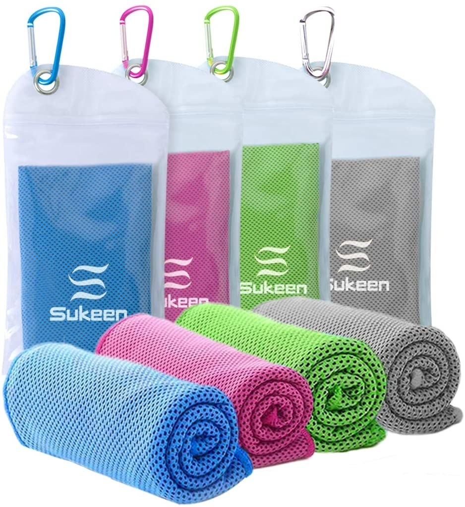 The blue/grey/green/pink cooling towels