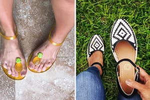 (left) Pineapple jelly flats (right) woven ankle-strap shoes