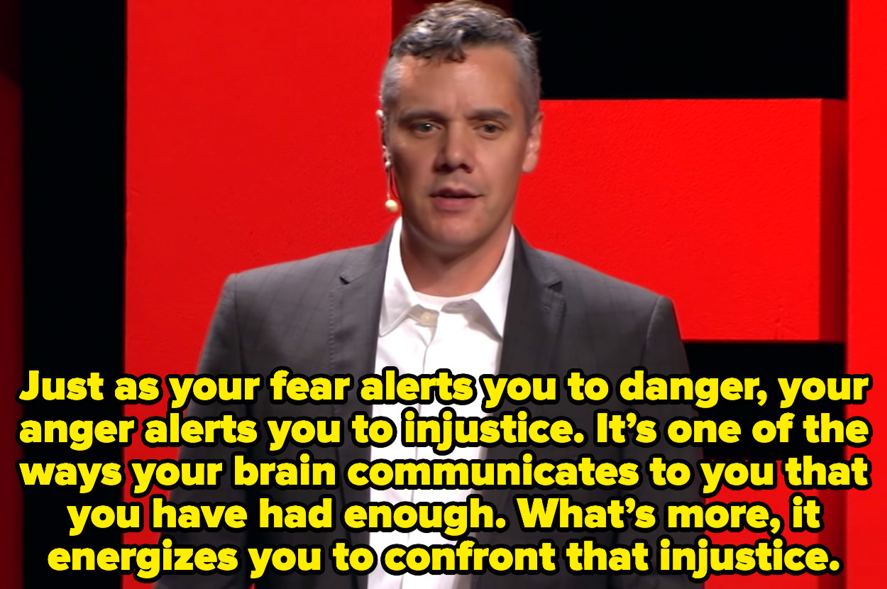 """At a Ted Talk, Ryan says, """"Just as your fear alerts you to danger, your anger alerts you to injustice. It's one of the ways your brain communicates to you that you have had enough. What's more, it energizes you to confront that injustice."""""""