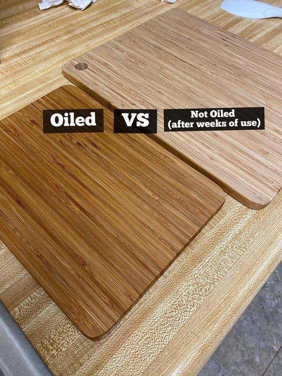 Reviewer's picture of an oiled board compared to a dryer looking board that has not been oiled