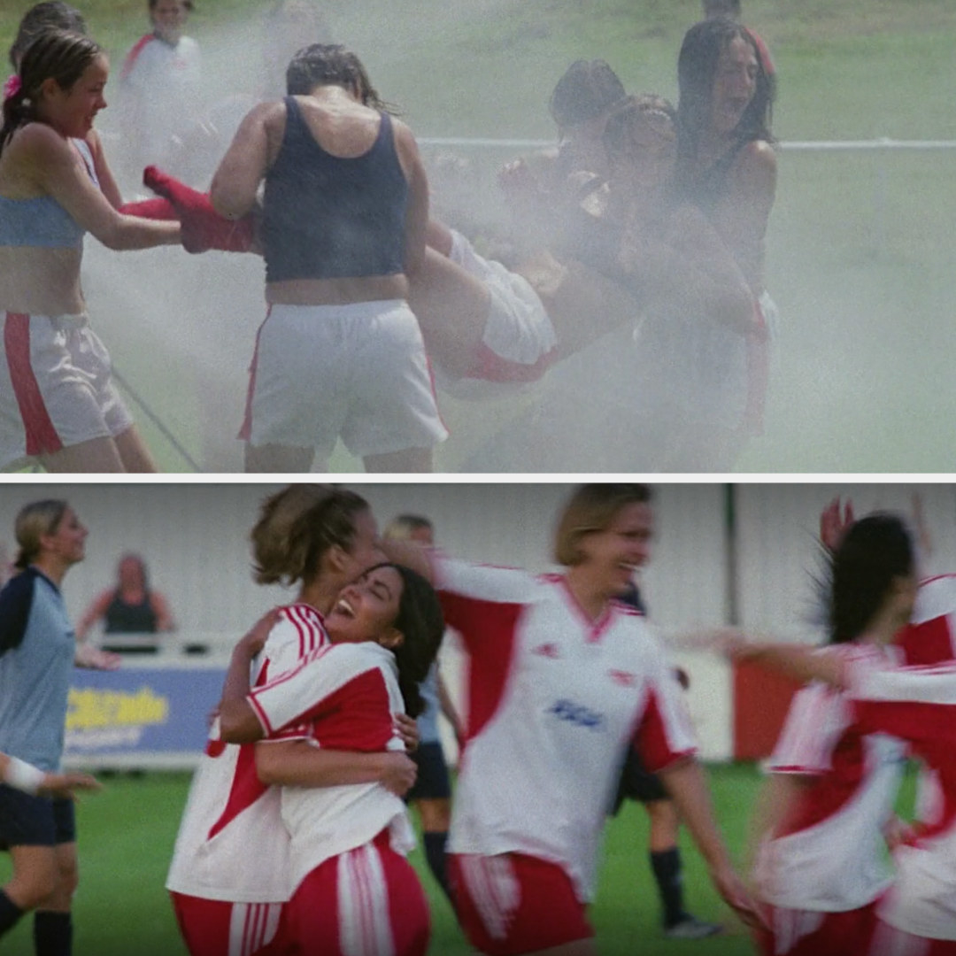 Jess and Jules playing soccer and hugging
