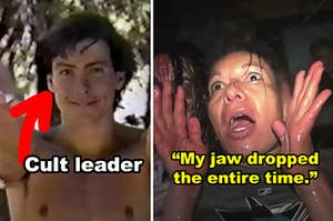 Side-by-side of a shirtless cult leader and a woman screaming