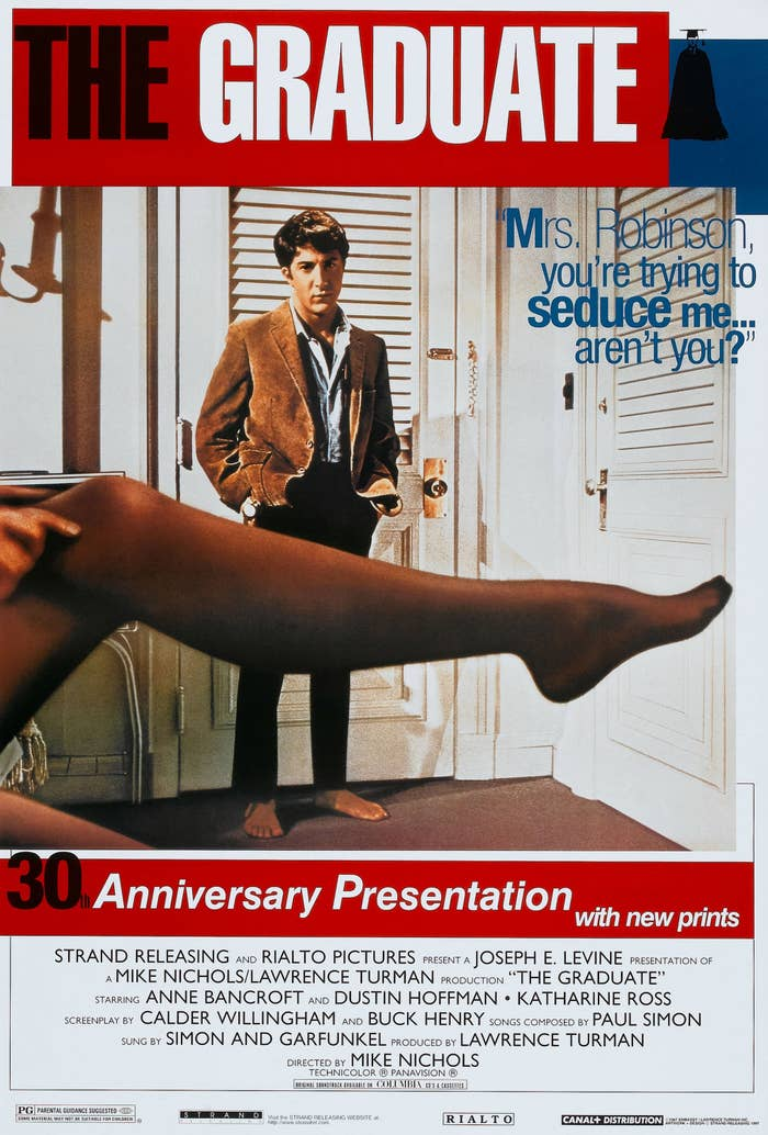 """poster for """"The Graduate"""" with Mrs. Robinson's leg across the front"""