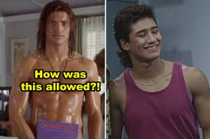 """Side-by-side of a shirtless Brendan Fraser in """"George of the Jungle"""" and Mario Lopez in """"Saved by the Bell"""""""