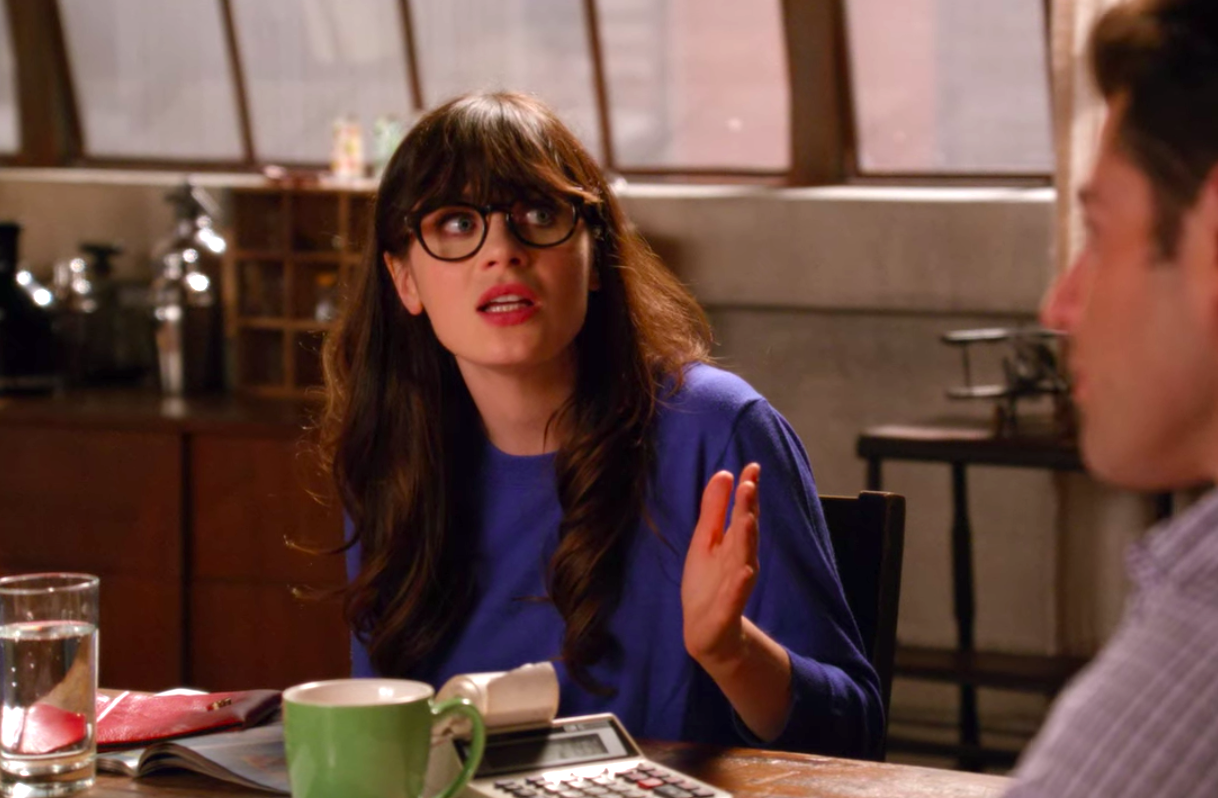 """Jess from """"New Girl"""" looking angry"""