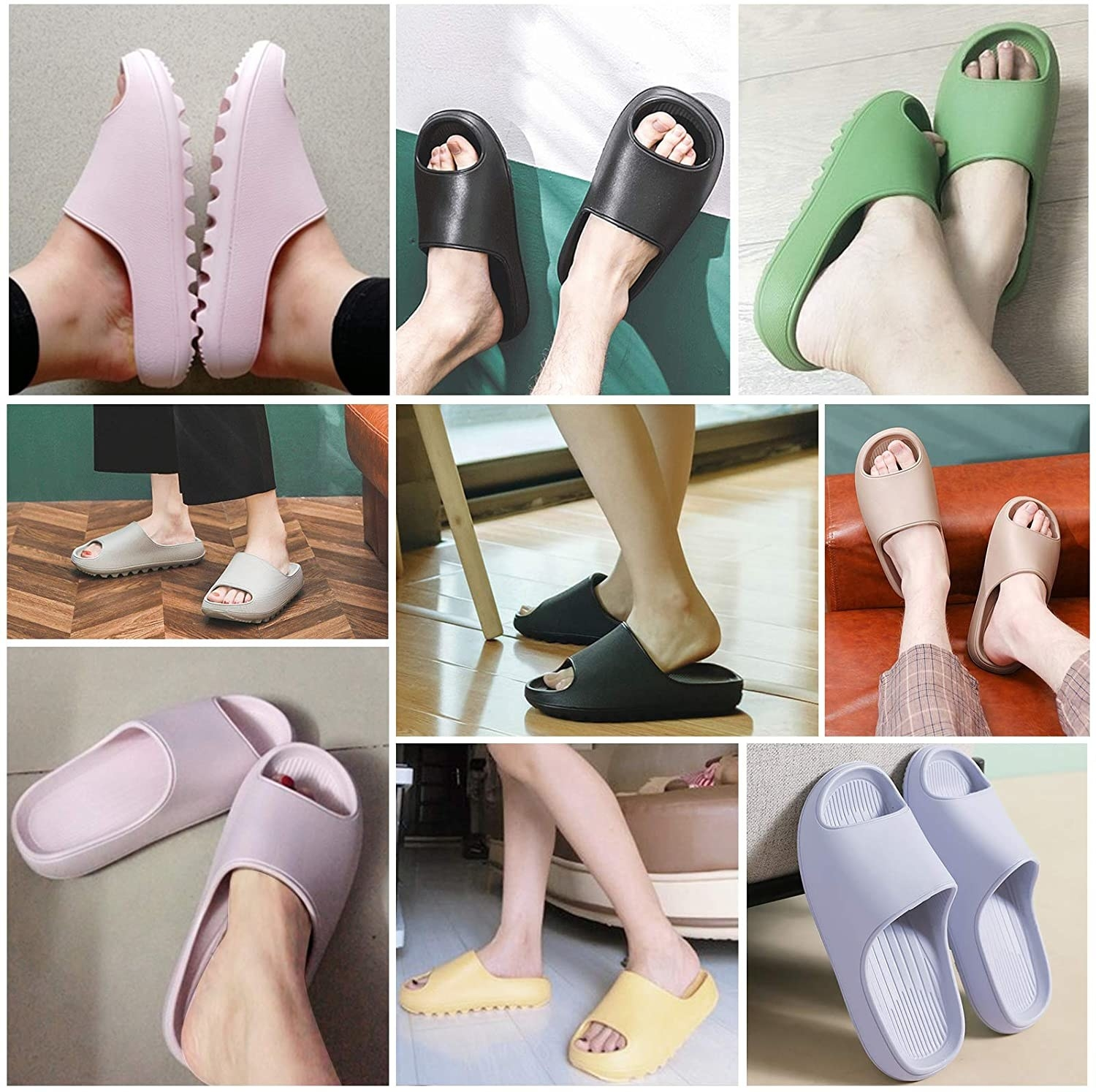 the slides in various pastel and neutral colors