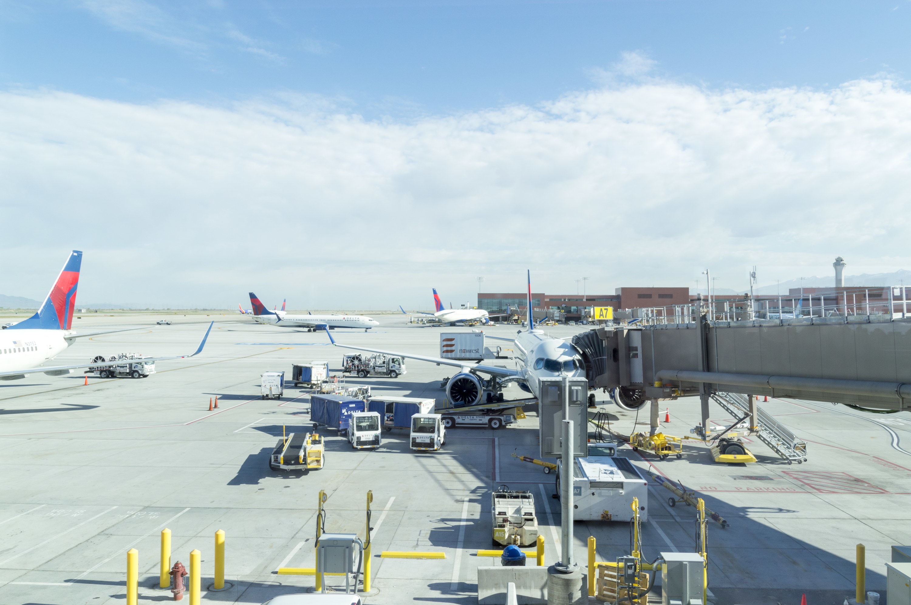 Planes parked at the airport