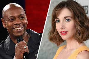 split image of Alison Brie and Dave Chappelle