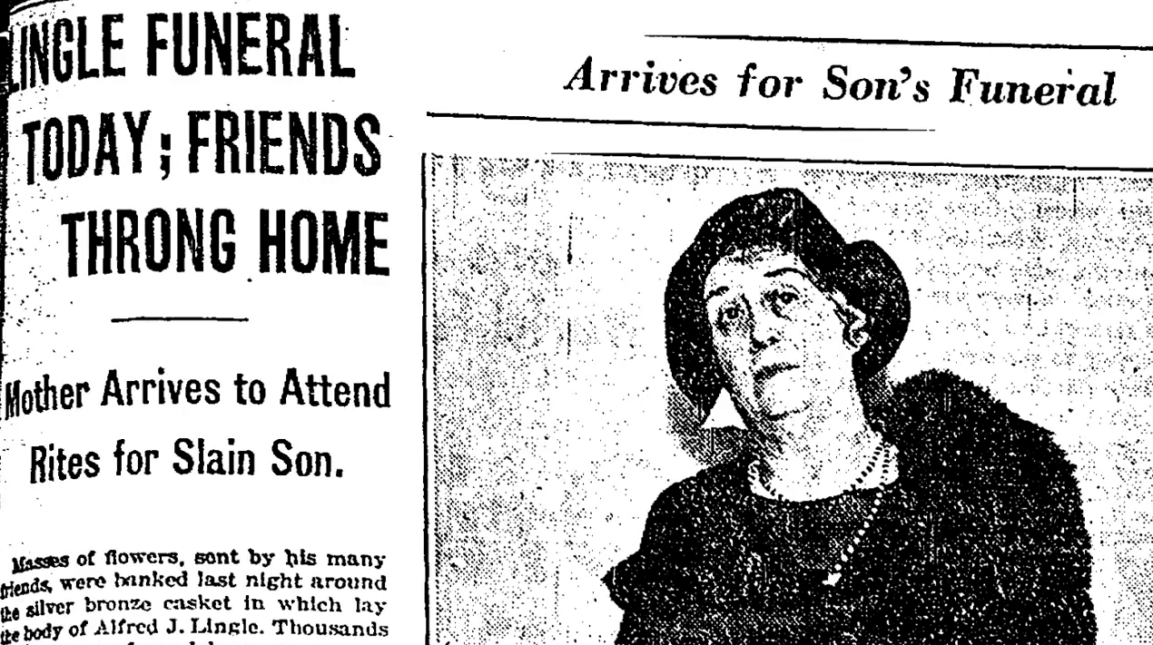 Front page of a newspaper from 1930 of Lingle's funeral announcement