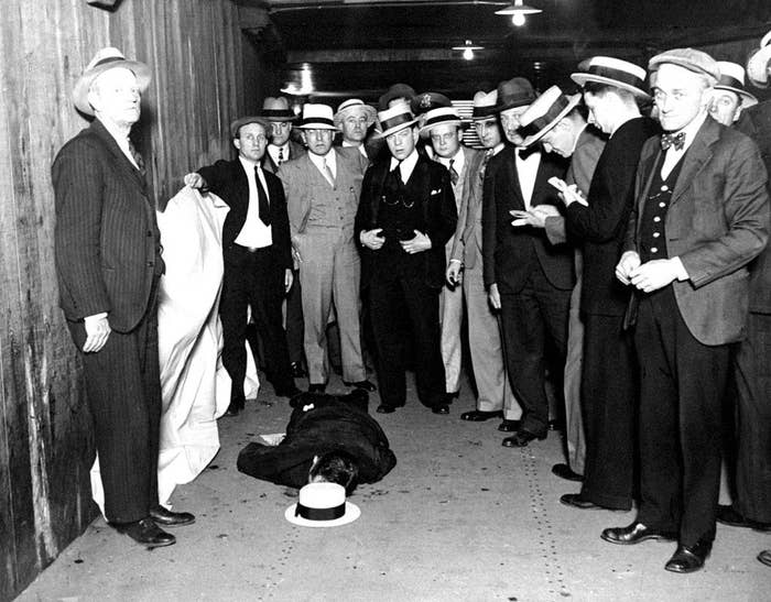 The body of Alfred Lingle, veteran reporter for the Chicago Tribune, lies in the passenger subway of the Illinois Central Railroad