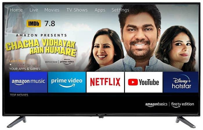 An AmazonBasics Fire TV Edition Smart LED TV in black.