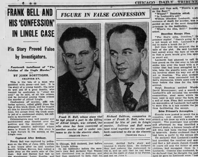 """A page from the Chicago Daily Tribune with the headline """"Frank Bell and His 'Confession' in Lingle Case"""""""