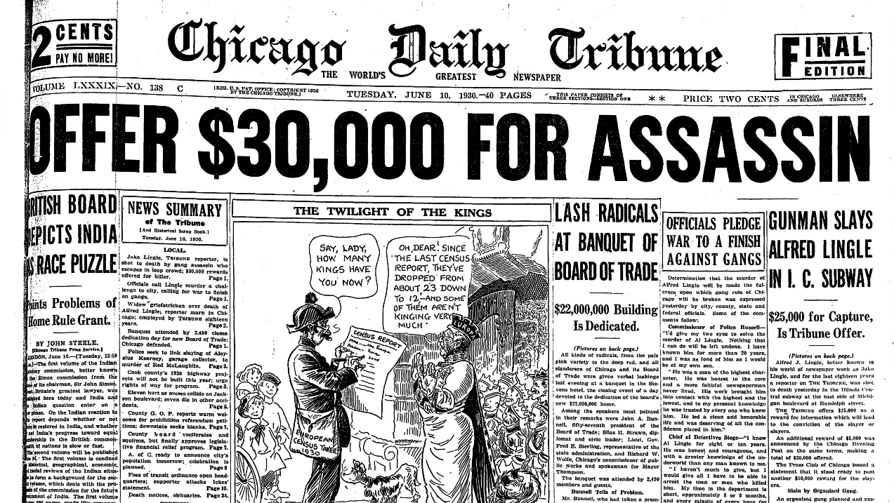 Front page of Chicago Tribune June 10, 1930, with $30,000 reward for Lingle's assassin