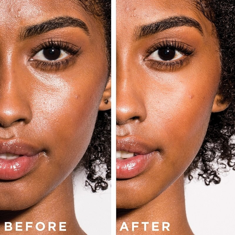 a before and after of skin with and without the primer