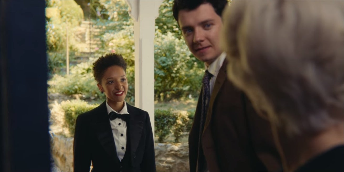 Ola dressed in a tux for prom with Otis