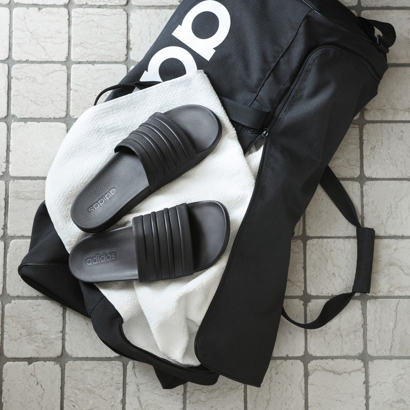 the slides on a gym bag