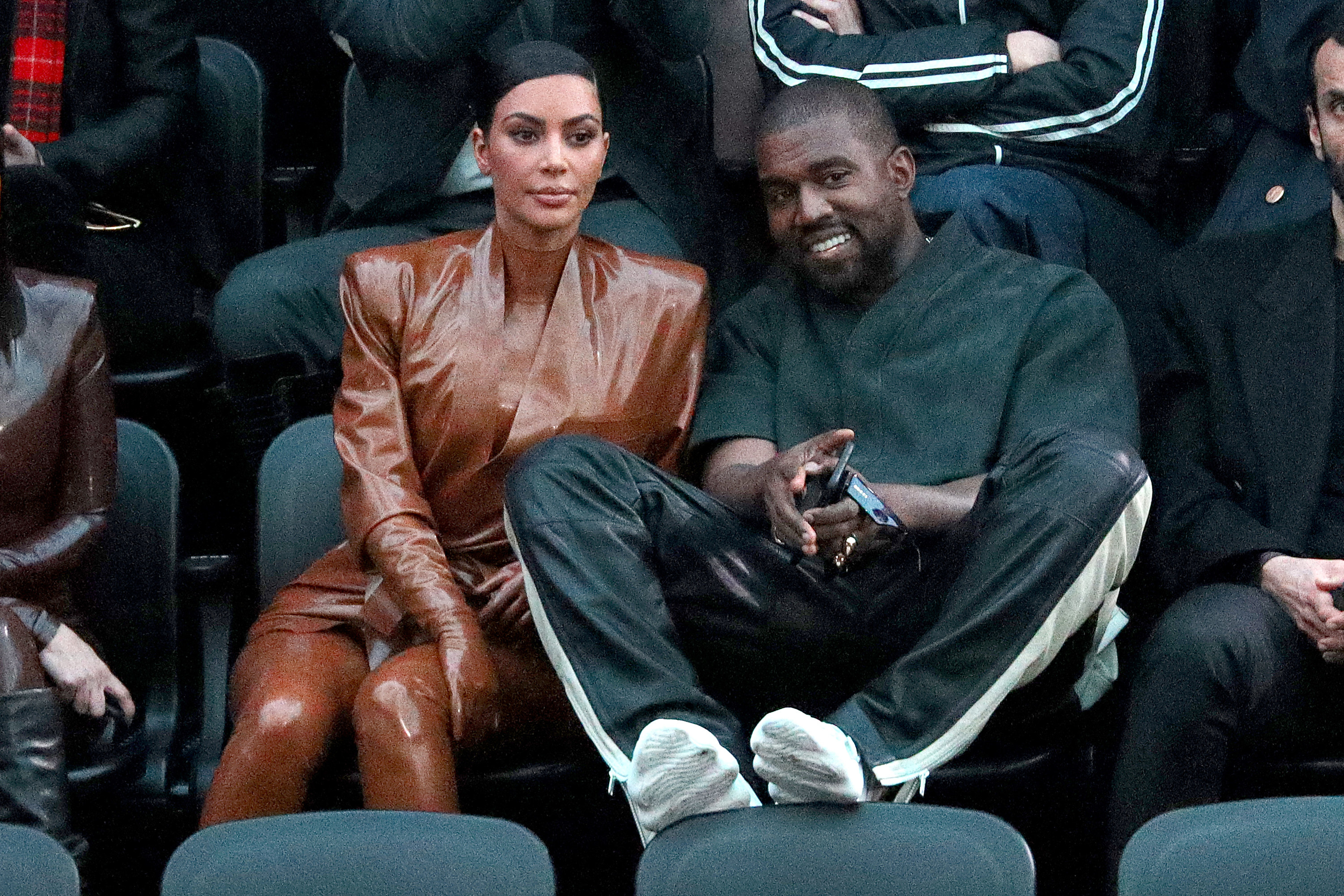 Kim Kardashian and Kanye West attend the Balenciaga show as part of the Paris Fashion Week Womenswear Fall/Winter 2020/2021 on March 01, 2020 in Paris, France