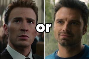 Steve Rogers looks solemnly up to the side while Bucky Barnes smiles softly at someone off screen.