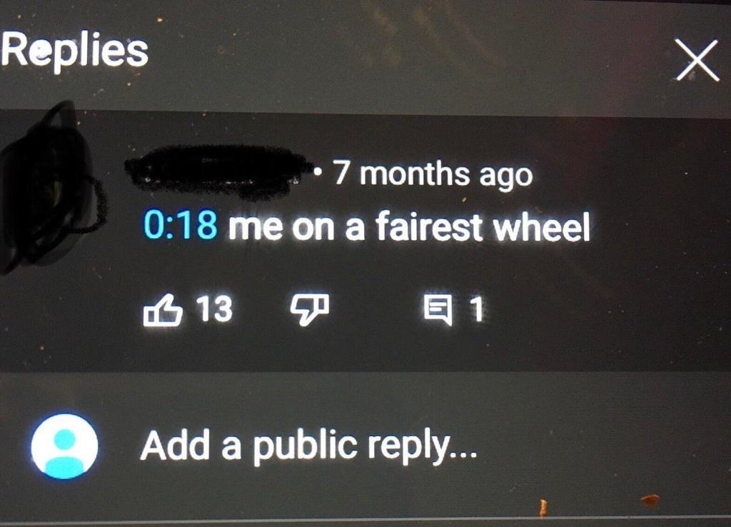 person calling it a fairest wheel