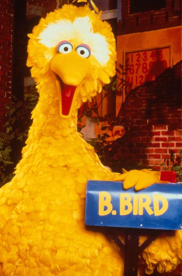 Big Bird posing with his sesame street mailbox