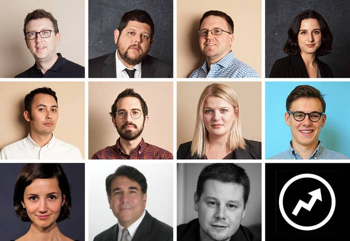 The 11 members of the FinCen Files team smile in individual headshots