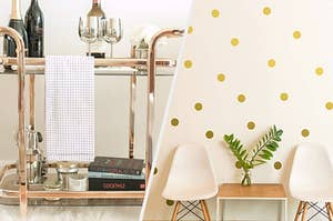 gold bar cart and gold wall decals