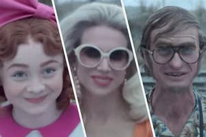 Carmelita wears a giant pink bow in her hair, Esmé wears oversized white sunglasses, and Count Olaf wears round wire rimmed glasses and a fake hair piece.