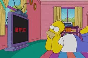 Homer Simpson watching Netflix
