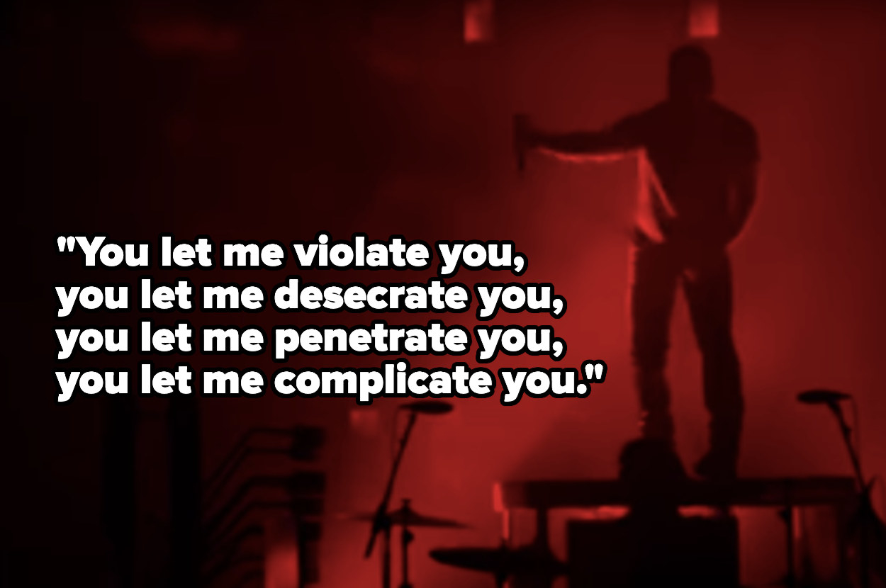 """Silhouette of a man onstage with the lyrics """"You let me violate you, you let me desecrate you, you let me penetrate you, you let me complicate you"""""""