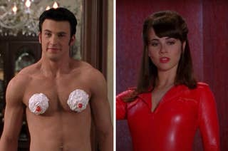 Chris Evans with whip cream covering his nippes from